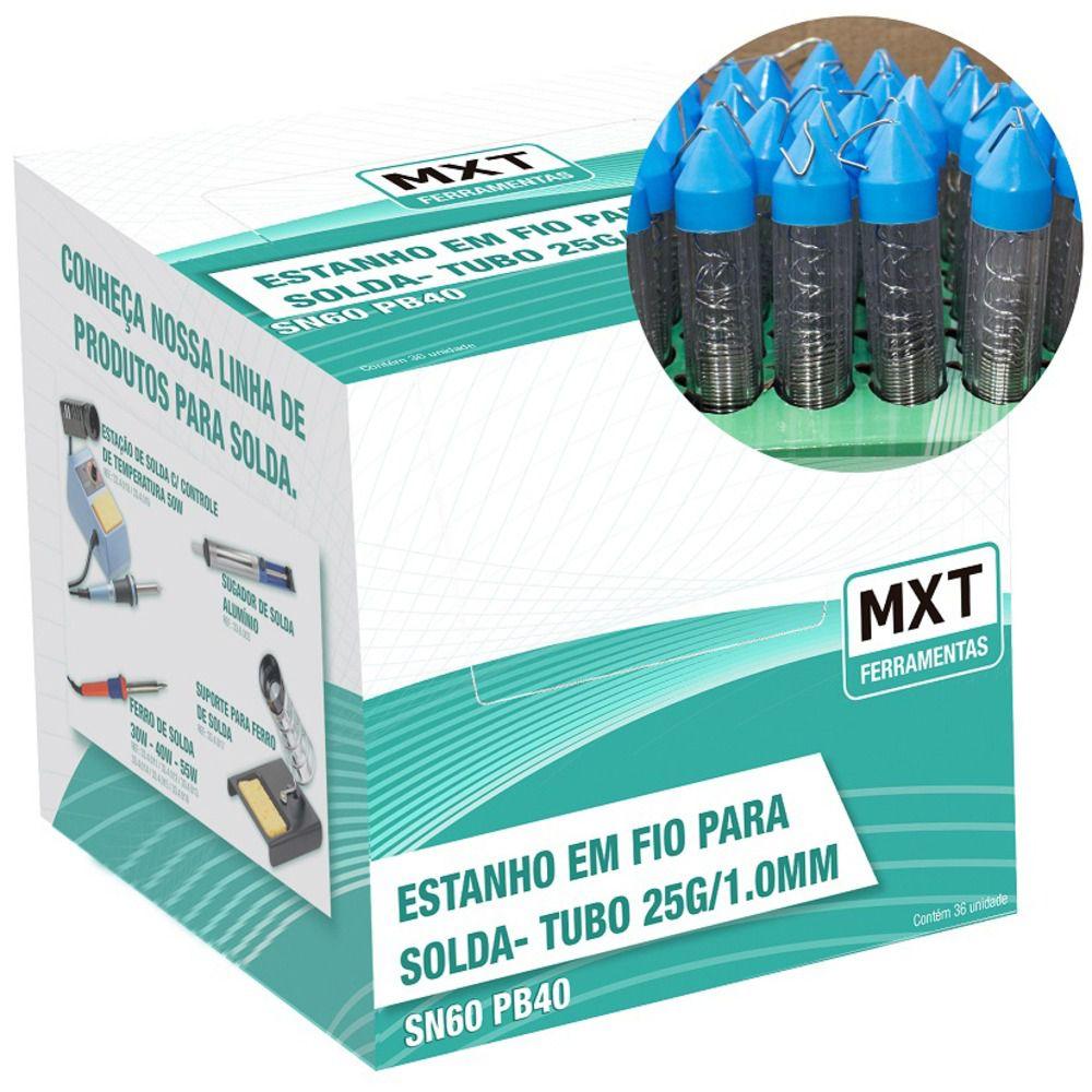 Fio De Estanho Solda Eletrônica Liga SN60 PB40 1mm / 25G  - MXT  - LD Cabos Soluções Áudio e Vídeo