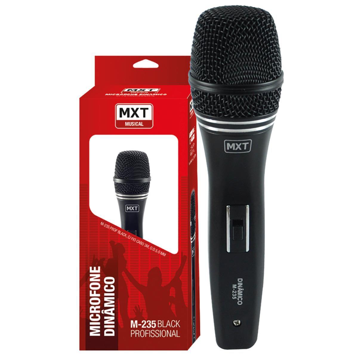 Microfone Com Fio Profissional Dinâmico Black M-235 - MXT  - LD Cabos Soluções Áudio e Vídeo