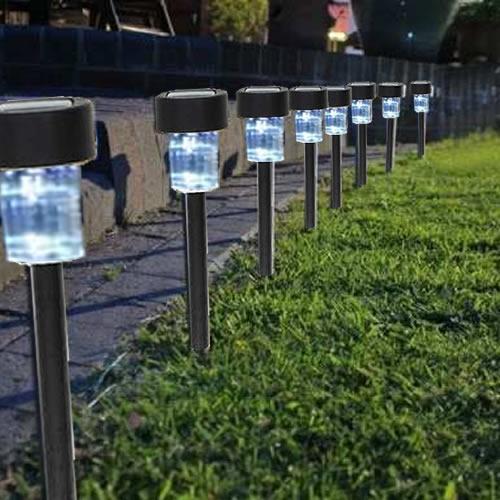 enfeites de jardim solar : enfeites de jardim solar:Luminária Solar Jardim 10 peças em PVC Inox EC23201 – 1387