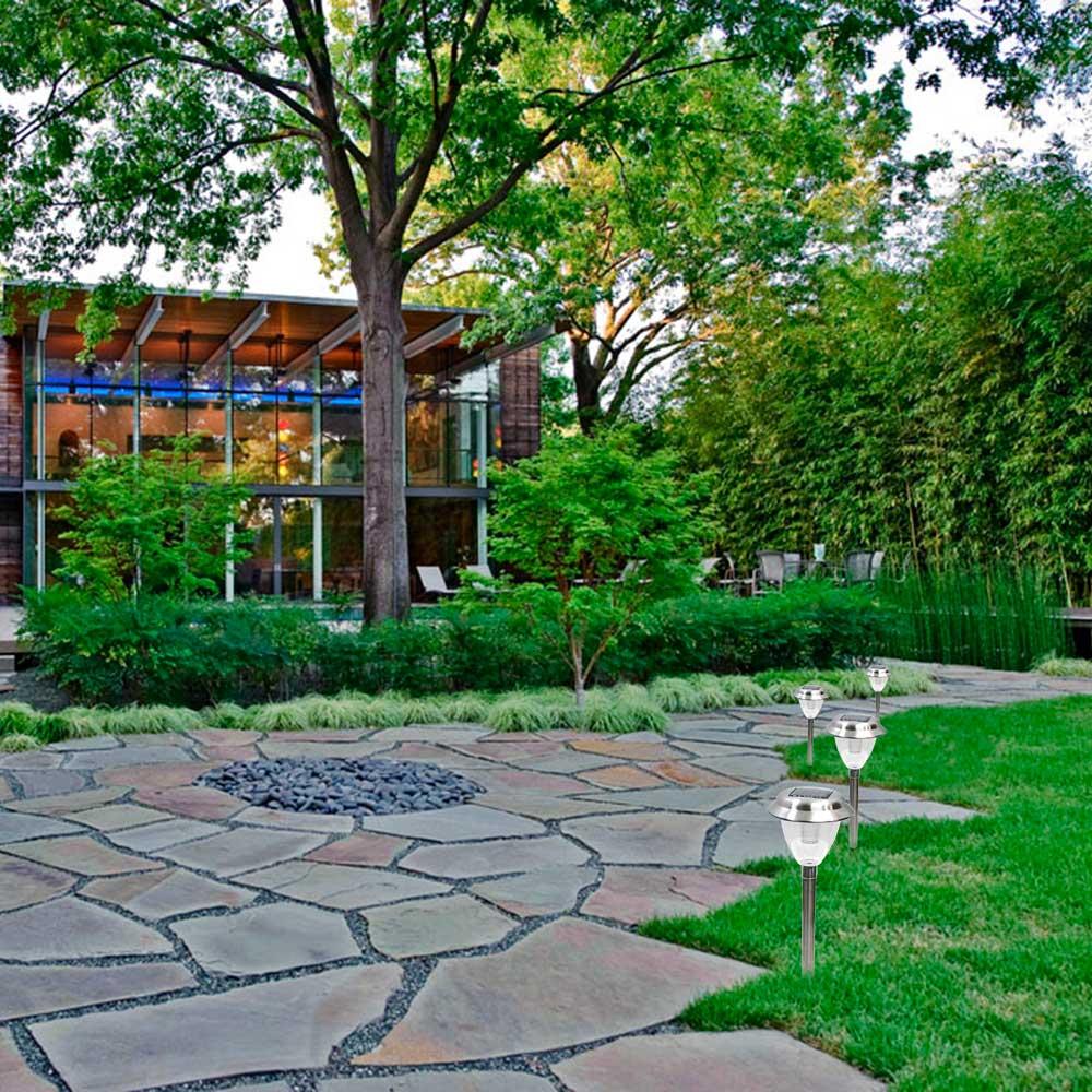 enfeites de jardim solar : enfeites de jardim solar:Luminária Solar para Jardim 6 peças em Aço Inox EC1120 – 1388