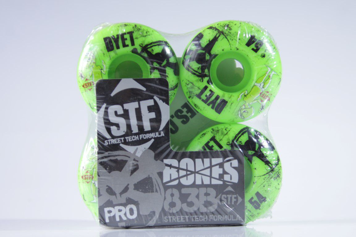 Roda Bones - STF Streettech V1 Dyet Whities 54mm Green  - No Comply Skate Shop