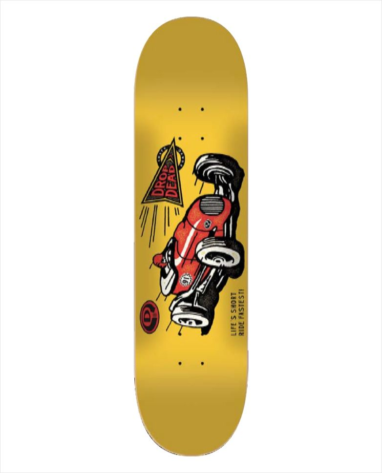 "Shape Dropdead - Heat Transfer Ride Fastest Yellow 7.75""  - No Comply Skate Shop"