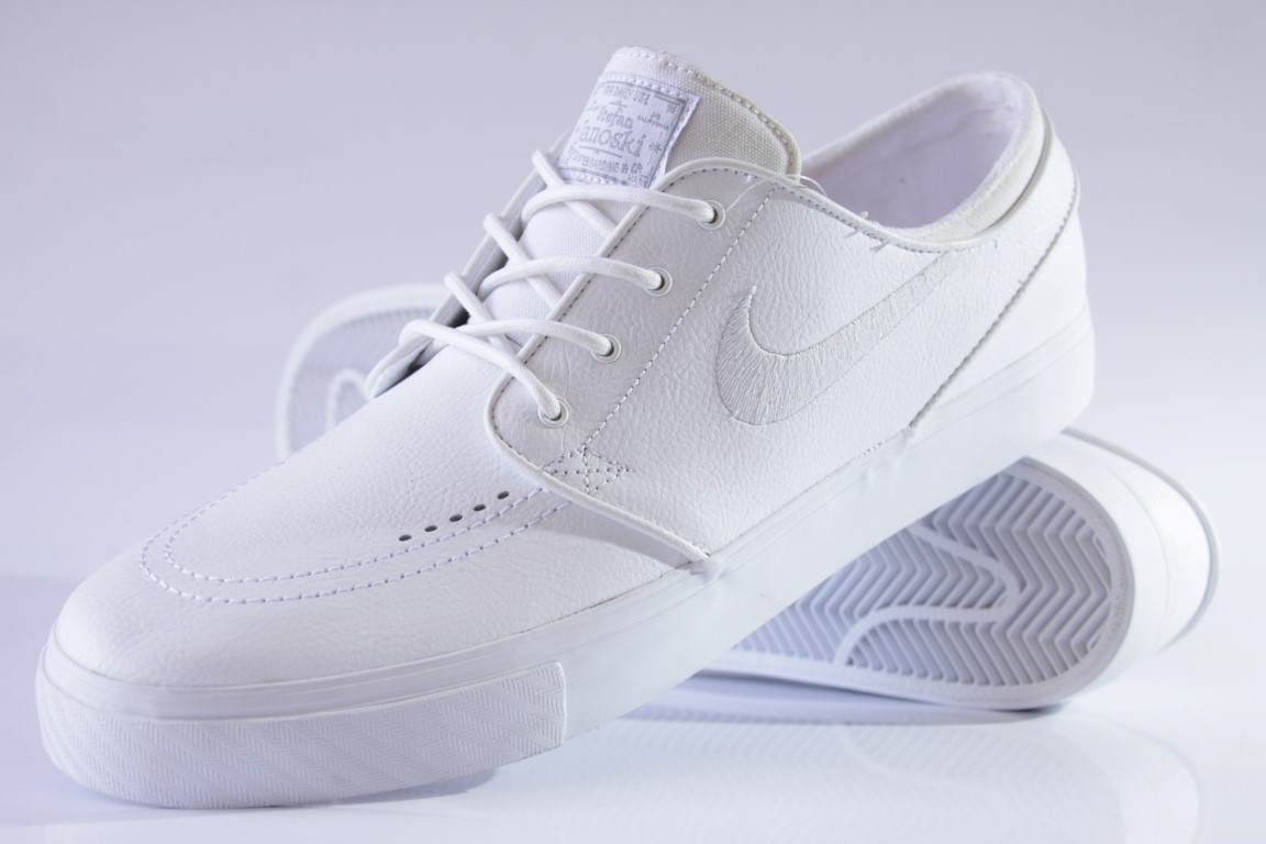 Tênis Nike SB - Zoom Stefan Janoski Leather White/White-Wolf  - No Comply Skate Shop