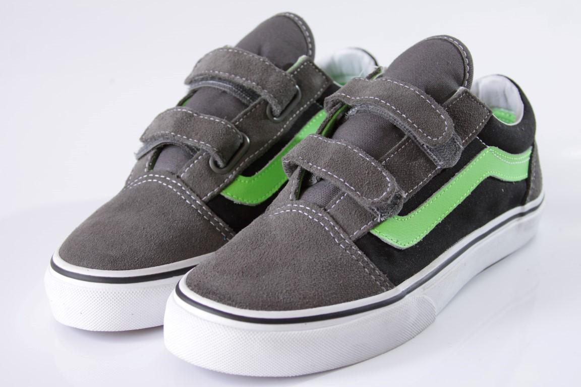 Tênis Vans - Kids Old Skool V Pewter/Green Flash  - No Comply Skate Shop