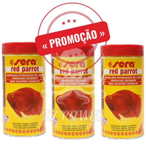 Ração Alimento Peixes Sera Red Parrot Peixes Papagaio 3 potes de 80gr  - KZ Power