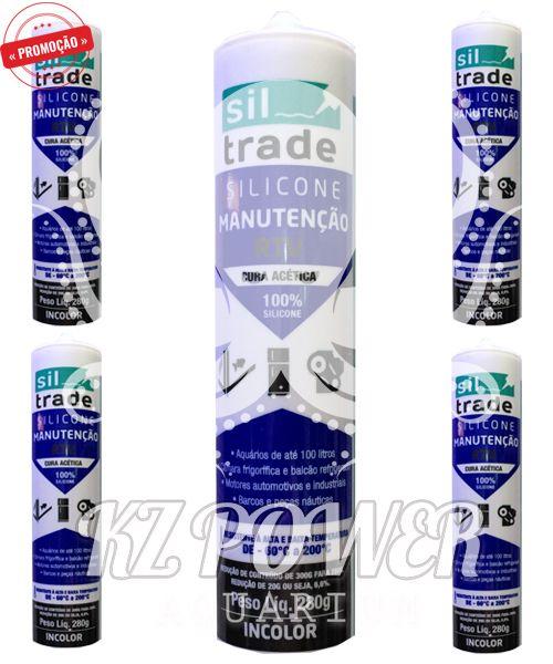 5 tubos Siltrade Silicone Manutenção RTV 280gr Incolor  - KZ Power