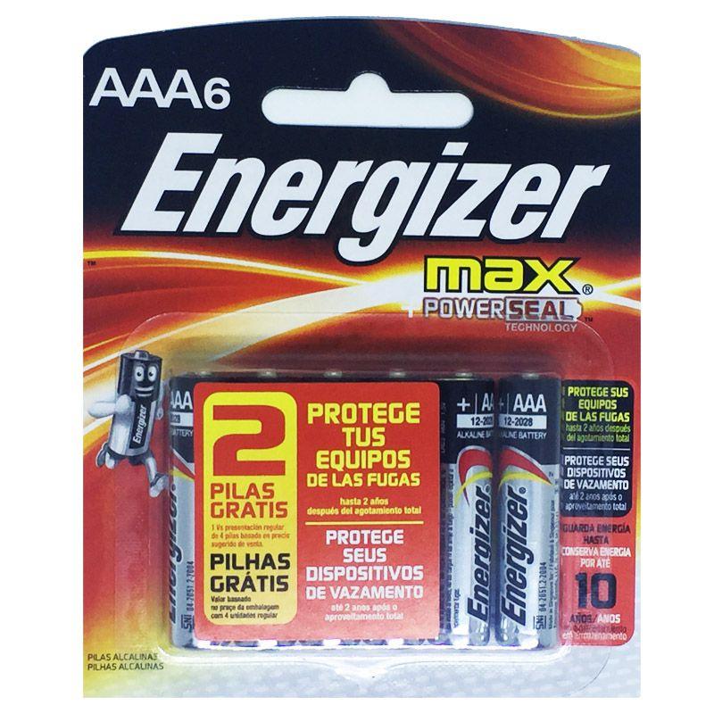 Pilha Alcalina AAA Palito Energizer Max - Leve 6 Pague 4  - KZ Power