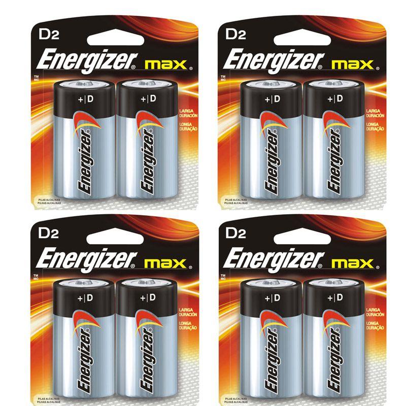 Pilha Energizer Max SM Grande D2 4 Catelas 8 Pilhas  - KZ Power