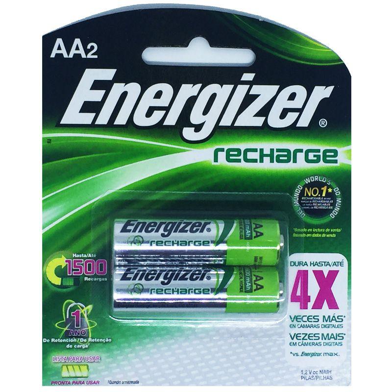 Pilha Recarregável Energizer AA - Com 2 Pilhas Pequena  - KZ Power