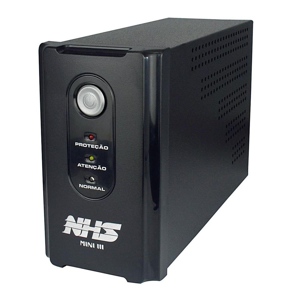 Nobreak Interactive Mini III 600 (600VA - 01 Bateria Selada 7Ah - Entrada Bivolt e Saída 120V) - NHS