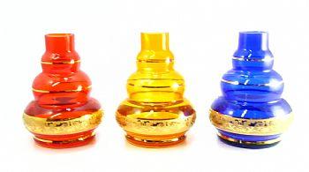 Vaso/base para narguile em vidro, Kimo TRIPLE (15cm), FAIXA GREGA dourada. Encaixe macho (interno).