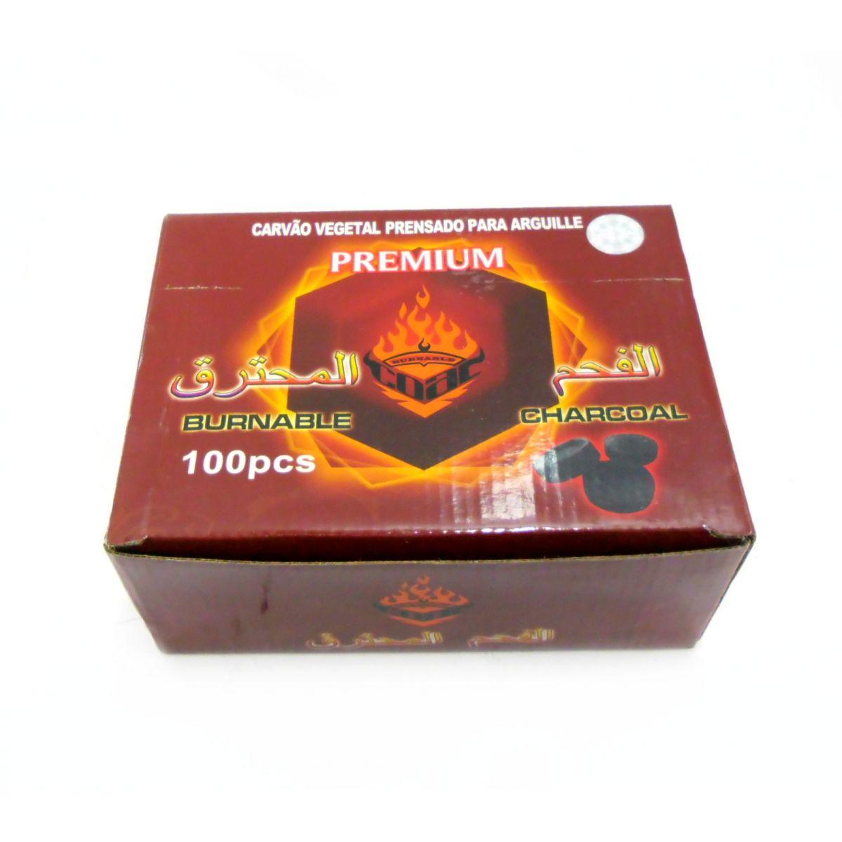 Carvão para Narguile (Arguile) BURNABLE PREMIUM acendimento rápido c/ pólvora - CAIXA 100 unidades