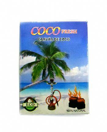 Carvão de coco FRESH - CAIXA 250 gr em formato cúbico.