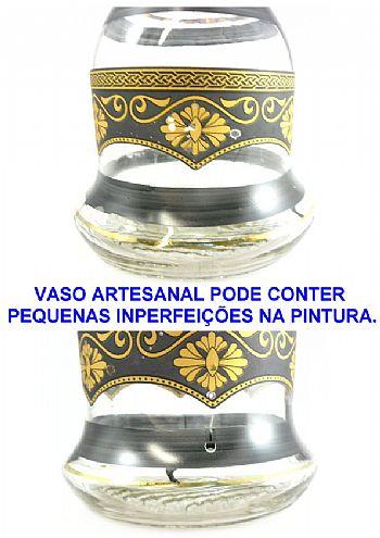 Vaso/Base para narguile formato Sino Grande 31cm pinturas florais em preto e  dourado VASO_PASHA_31_FLORAL-PRETO