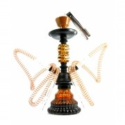 Narguile YAHYA compacto (32cm), duas mangueiras, vaso base larga pintado em MARROM, corpo preto. -MV32_YAHYA_Y03_2S_MARR
