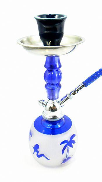 Mini Narguile 18cm. Vaso em vidro azul e jateado, corpo cromado e decorado com detalhe, prato cinzeiro, fornilho de cerâmica. Altura de 18 cm. - mod. AB18_MOD14_1S_AZUL