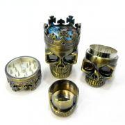 Dichavador/ Desfiador/Triturador de tabaco decoração caveira no tom bronze, interior dentes de metal