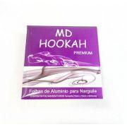 Folhas de Alumínio para narguile MD HOOKAH, EXTRA GROSSO, 16,5cm, corte quadrado, caixa com 50 un.