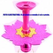 Prato luxo 23cm. Athenas. Em metal maciço, inox e decorado com flor de lótus em alto relevo. Cor ROSA PINK centro DOURADO.