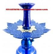 Prato luxo 23cm. Athenas. Em metal maciço, inox e decorado com flor de lótus em alto relevo. Cor AZUL ESCURO centro PRATA.