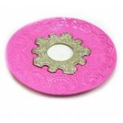 Prato luxo 17cm. Vennus. Em metal maciço, inox e decorado em alto relevo. Cor: ROSA ESCURO (PINK).