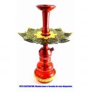 Narguile TRITON ZIP 35cm SETUP sem mangueira, vaso Kimo VERMELHO dourado, fornilho alumínio, Prato Athenas Dourado/Crom
