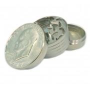 Desfiador/ dichavador tabaco metal cromado, médio, bifásico (compartimento rosqueado), moeda Dólar - DOLLAR GRINDER