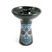 Fornilho/Rosh MUKABOWL preto decoração Caveira mexicana (La Catrina) 10cm altura, 7,4cm diâmetro.