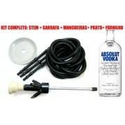 KIT COM: Narguile ABSOLUT® KING INOXIDÁVEL + 3 Mangueiras laváveis GO HOSE + Garrafa(vazia) ABSOLUT® + Prato+Rosh -PRATA
