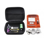 Kit para rapé / snuff, com moedor, bullet inalador, colher, frascos e bolsa de couro.