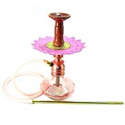 Narguile Amazon Kombat Rosé, vaso Chama Aladin rosé, mangueira silicone, piteira alumínio, rosh Yahya Y38, prato Pérsia