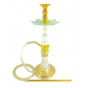 Narguile Amazon Pride Dourado Mad. Branca 65cm, vaso Aladin, mangueira silicone, piteira alum, rosh Seven, prato Athenas