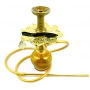 Narguile Anúbis Little Monster Dourado. Com vaso Kimo, mangueira de silicone, rosh, prato dourado.