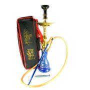 Narguile Egípcio PASHA KAMANJA 59cm, vaso azul, fornilho OHT Gold e mangueira silicone, piteira alum.