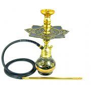 Narguile Empire 40cm Hookah King Dourado, vaso Little Wave fumê/dour, mang.antichamas, rosh alumínio dourado, prato Moon