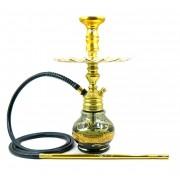 Narguile Empire 40cm Hookah King Dourado, vaso Little Wave fumê/dour, mang.antichamas, rosh alumínio dour., prato Malik.