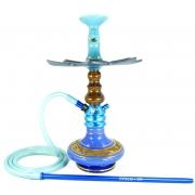 Narguile Fulgore Pro Azul, vaso Nix azul e dourado, mang.silicone, piteira alumínio,rosh DS Nay, prato Moon Imperia