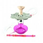 Narguile MD Hookah alumínio, vaso Aladin em vidro rosa, mangueira lavável, prato El Nefes, rosh IL Bowl