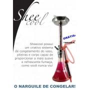 Narguile Sheecool Congelável base larga. 4 saídas de mangueira (grátis 1 mangueira congelável) Alt. 67cm. Vermelho/Rosa