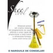 Narguile Sheecool Congelável base larga. 4 saídas de mangueira, grátis 1 mangueira congelável. Altura 67cm. Cor Amarelo.