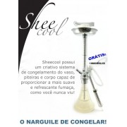 Narguile Sheecool Congelável base larga. 4 saídas de mangueira, grátis 1 mangueira congelável. Altura 67cm. Cor BRANCO.