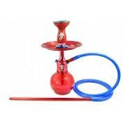 Narguile Supremo HOMEM ARANHA (vermelho/azul), vaso Bambino, mang. silicone, piteira alumínio, rosh B-King, prato DM