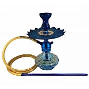 Narguile Triton Zip azul, vaso Aladin azul, mangueira silicone, piteira alumínio, rosh Amazon e prato Malik azul/dourado