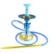 Narguile Triton Zip azul, vaso Aladin, mangueira silicone, piteira alumínio,rosh Moon, prato Vennus.