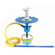 Narguile Triton Zip azul, vaso Drop azul, mangueira silicone, piteira alumínio, rosh Beta azul/dourado, prato Malik