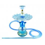 Narguile Triton Zip azul, vaso LUNA EAST faixa grega dourada, mangueira antichamas c/piteira, rosh Beta, Prato Malik.
