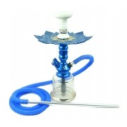 Narguile Zeus Single azul escuro 39cm, vaso Evolution, mang. Helix, piteira alumínio, prato Vennus, rosh alumínio.