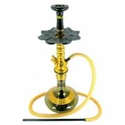 Narguile Zeus Smart Dourado 65cm, vaso Aladin fumê, mangueira Helix, piteira de alumínio, rosh Kimo, prato El Nefes