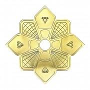 Prato para narguile DIAMOND GRANDE, DOURADO. 28cm de diâmetro total, 4cm de furo.
