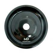 Prato para narguile em alumínio marca MD, tamanho médio (13,3cm de diâmetro, furo 2,2cm). Preto